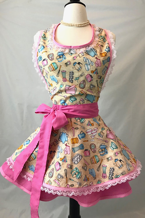 Pink & Aqua Retro Kitchen Circle Skirt Apron