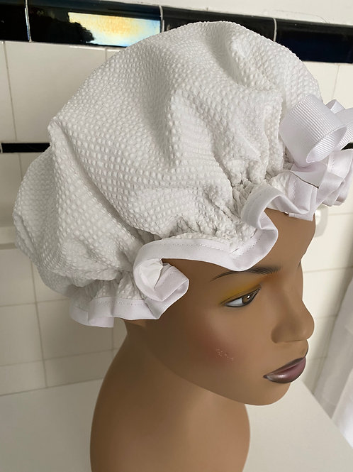 "Women's Shower Cap Ruffled ""Waffle White"""