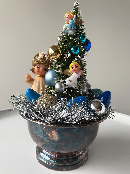 Vintage Silver Bowl Angel Christmas Centerpiece #1