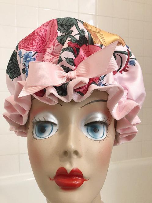 "Women's Shower Cap Ruffled ""Satin Bouquet"""
