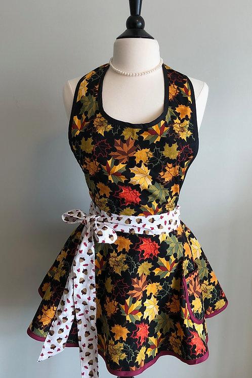 Falling Leaves Black Circle Skirt Retro Apron