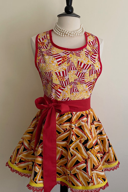 Popcorn and Hot Dogs Ice Circle Skirt Retro Apron