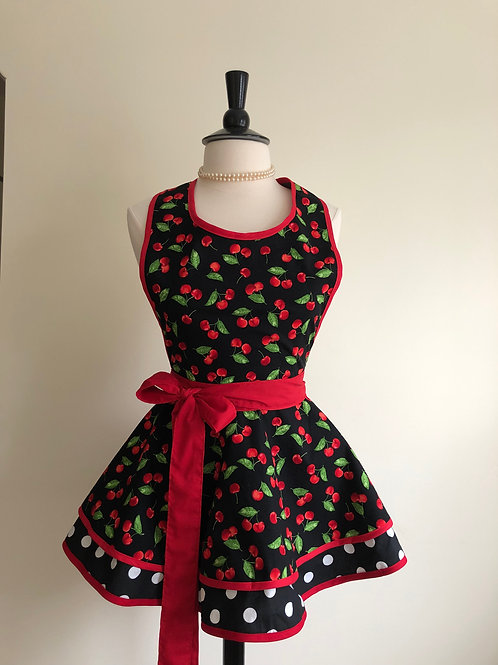 Cherries on Black Double Circle Skirt Retro Apron