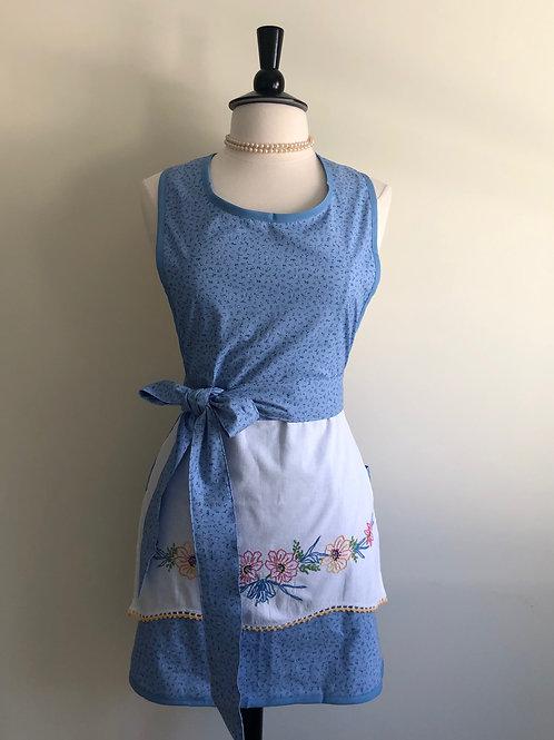 """Flowers on Blue"" 1950s Pillowcase Apron"