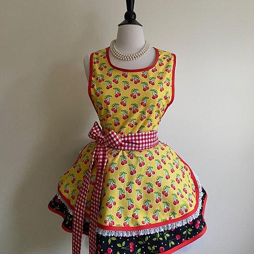 Cherries on Yellow Double Circle Skirt Retro Apron
