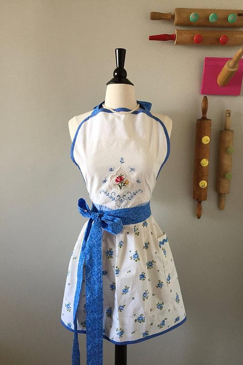Petite Blue Roses Vintage Fabric Apron