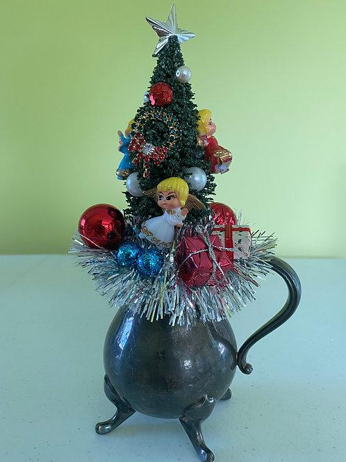 Vintage Silver Coffee Creamer Angels Christmas Centerpiece