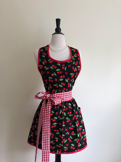 Cherry Poppin Mama Black Retro Apron