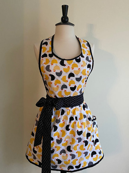 Yellow Black Chickens Roosters Retro Apron