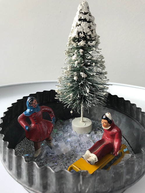 Vintage Ice Skater & Sledder Christmas Decoration