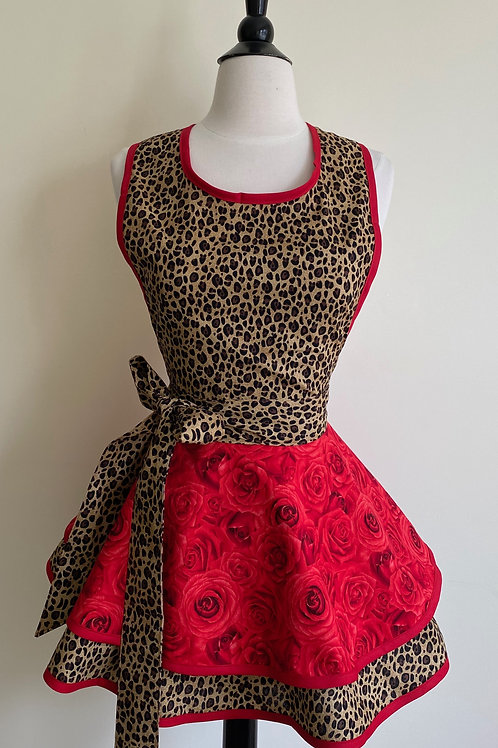 Cheetah and Roses Double Circle Skirt Retro Apron