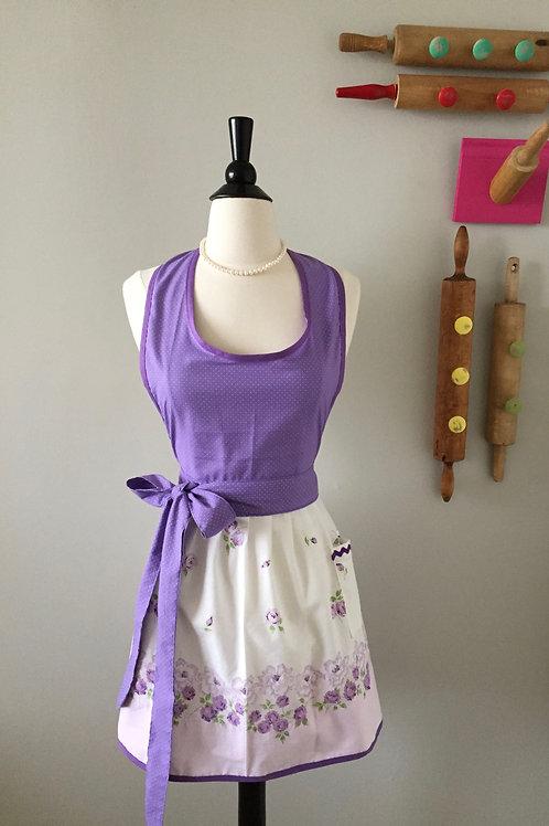 Lavender Roses Vintage Fabric Apron