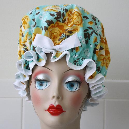 Roses on Blue Shower Cap