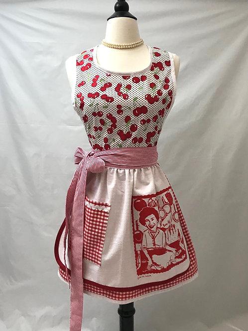 Cherry Julia Child Dish Towel Retro Apron
