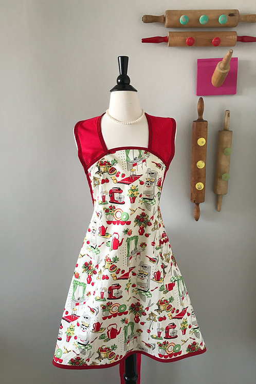 Retro Apron 1940s A-Line Mrs. Cleaver's Kitchen