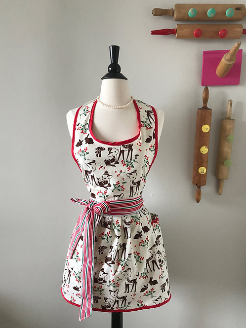 Retro Apron Christmas Bambi Pleated Skirt Apron