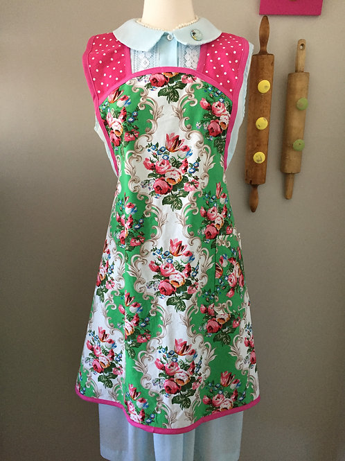 Retro Apron 1940's Style Jade Floral Apron