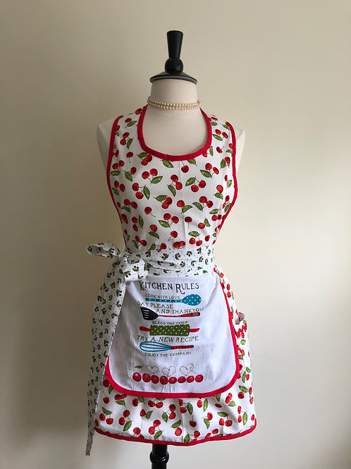 Cherry Kitchen Rules Dish Towel Retro Apron