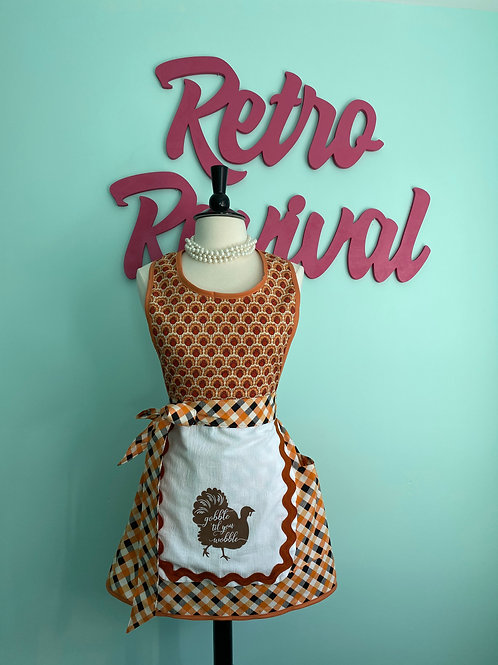 Gobble Till You Wobble Thanksgiving Retro Apron