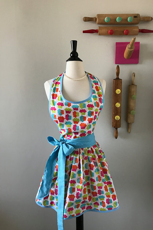 Retro Apron Little Cupcakes on White
