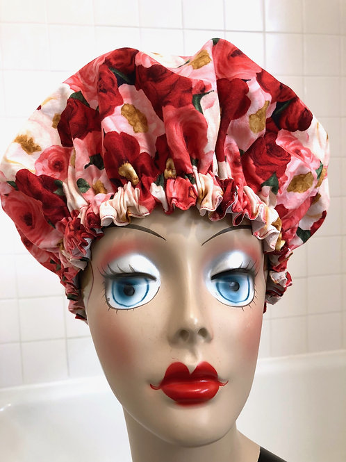 "Women's Modern Milly Shower Cap ""Red Romance"""
