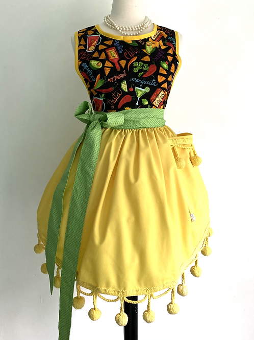 Mexican Fiesta Retro Apron with Pom Poms