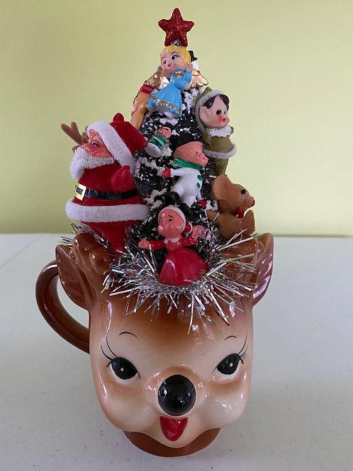 Vintage Christmas Decoration Centerpiece in Deer Mug #2