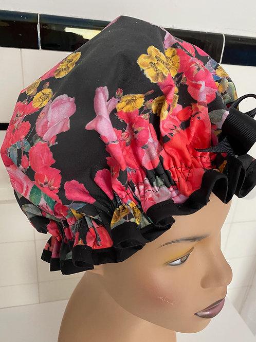 "Women's Shower Cap Ruffled ""Dramatic Floral"""