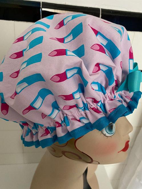 "Women's Retro Rita Shower Cap ""Pink Turquoise Lipstick"""