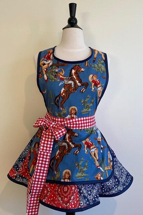 Yee Haw Blue Bandana Circle Skirt Apron