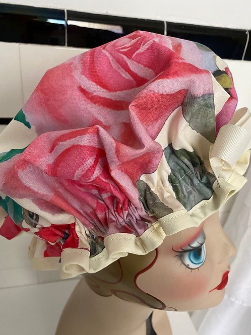 "Women's Shower Cap Ruffled ""Pink Rose"""
