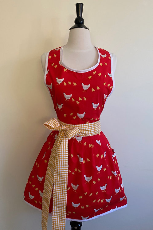 Chickens on Red Retro Apron