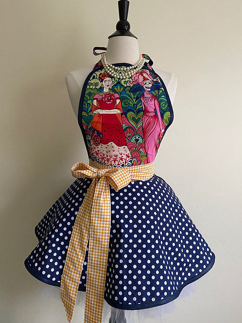 Frida Day of the Dead Circle Skirt Retro Apron