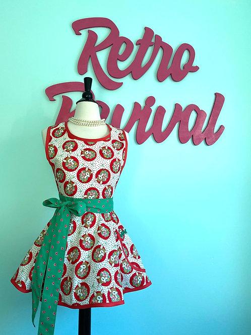 Deer Red Polka Dot Retro Circle Skirt Christmas Apron