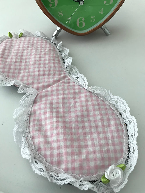 Sleep Mask Pink & White Gingham