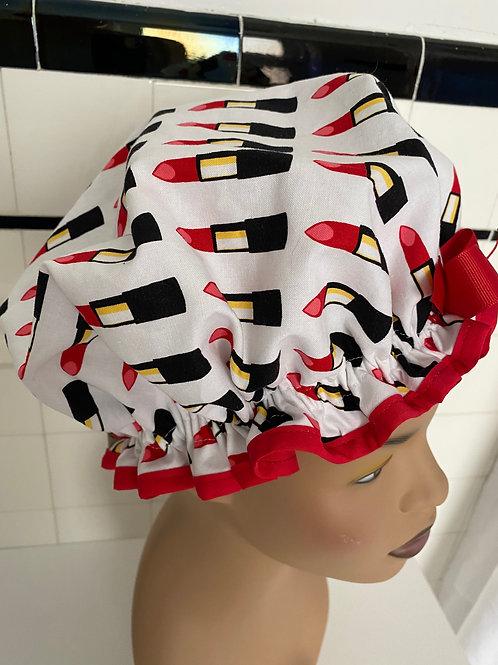 "Women's Retro Rita Shower Cap ""Red Lipstick"""