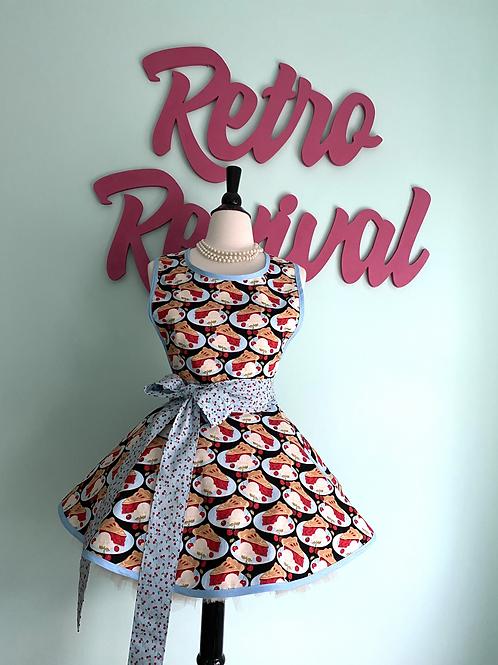 Cherry Pie On Black Retro Circle Skirt Apron