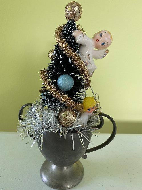 Vintage Silver Sugar Bowl Angel Christmas Centerpiece