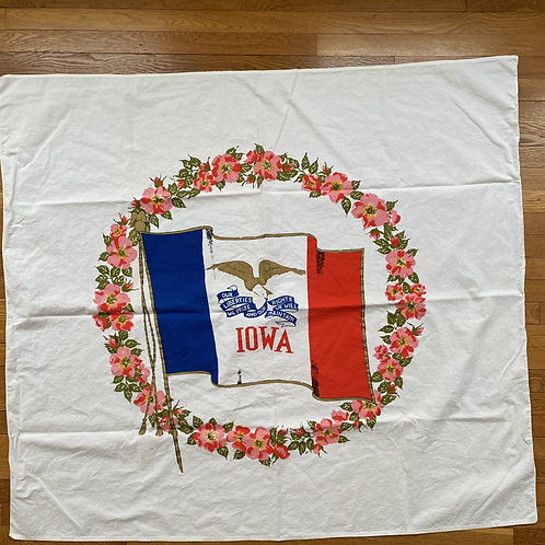 Vintage 1950s Iowa State Tablecloth