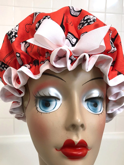"Women's Shower Cap Ruffled ""Perfect Hair Day"""