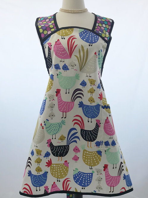 Colorful Chickens 1940's A-Line Apron