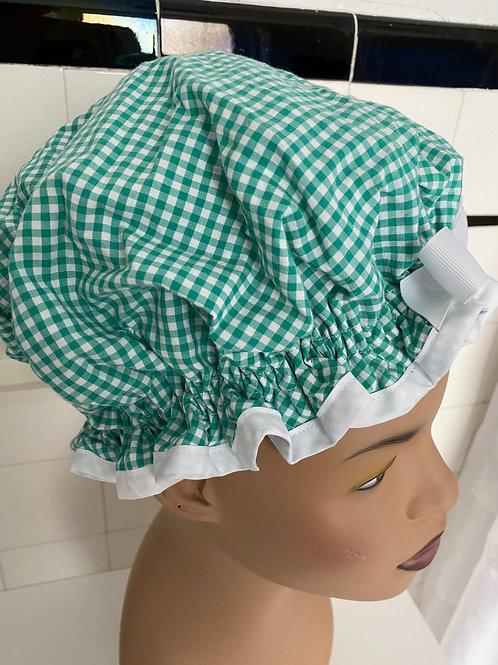 "Women's Shower Cap Ruffled ""Green Gingham"""