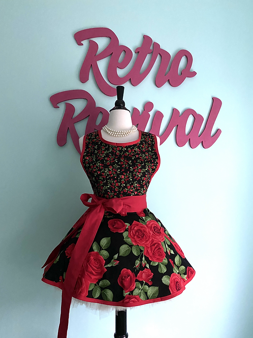 Romantic Roses Red and Black Circle Skirt