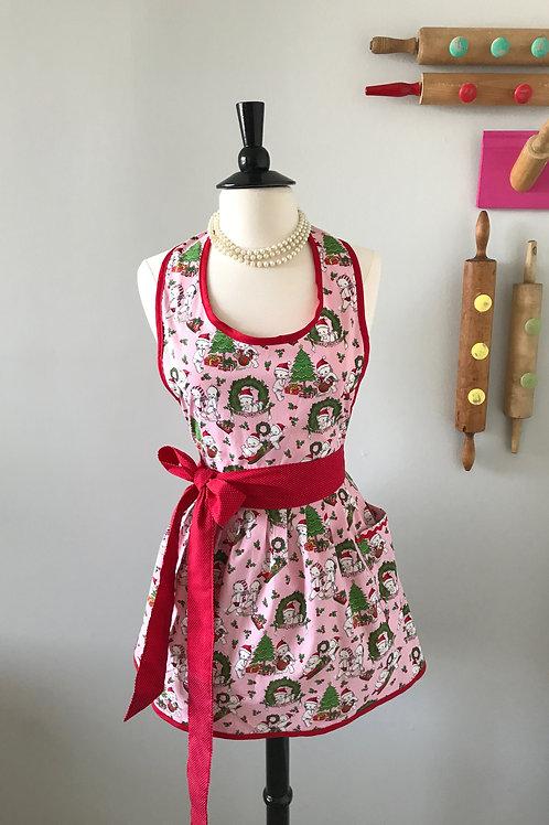 Retro Apron Kewpie Christmas Gathered Skirt Apron