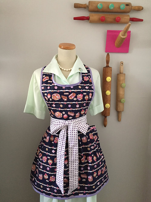 Retro Apron Baked Beauties Navy Apron