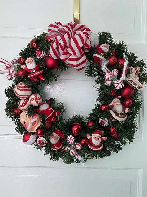 Vintage Kitsch Christmas Santa Wreath #1