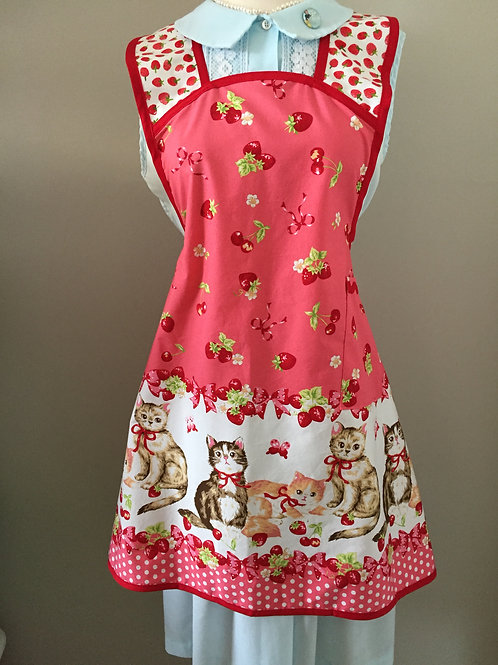 "Retro Apron ""Here Kitty Kitty Pink"""