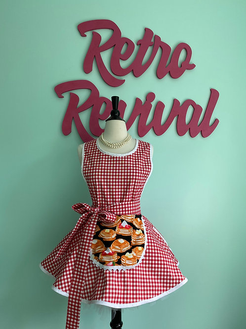 Pancakes & Gingham Retro Skirt Apron
