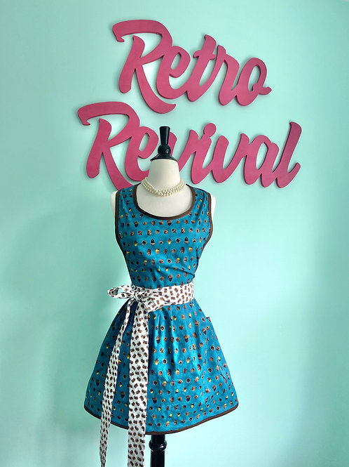 Acorns on Teal Retro Apron