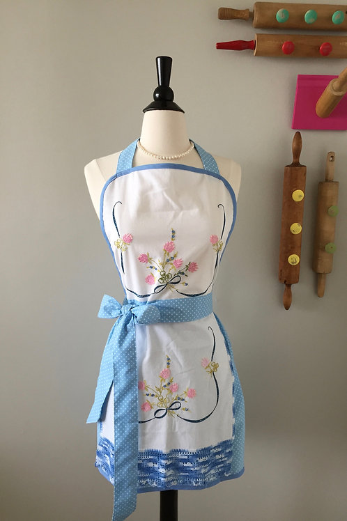Hand Embroidered Vintage Fabric Apron